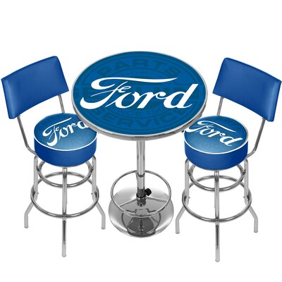 Ford Genuine Parts Game Room Combo 3 Piece Pub Table Set
