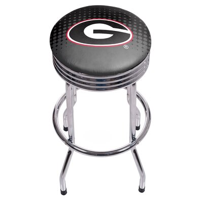 "University of Georgia Ribbed 28.5"" Swivel Bar Stool Finish: Chrome, Upholstery: Black GA1005-REF"
