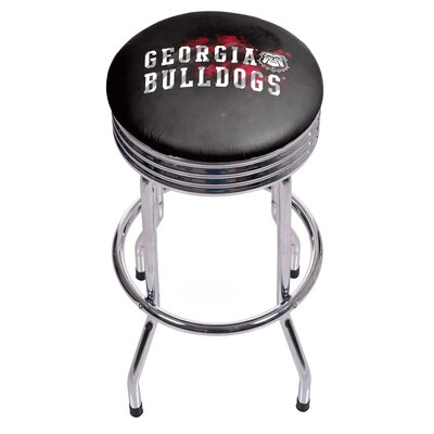 University of Georgia Ribbed 28.5 Swivel Bar Stool Finish: Chrome