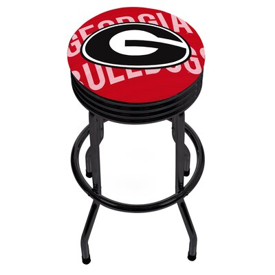 University of Georgia Ribbed 28.5 Swivel Bar Stool Finish: Black, Upholstery: Red