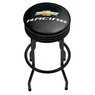 Chevy Racing Ribbed 29 Swivel Bar Stool Finish: Black