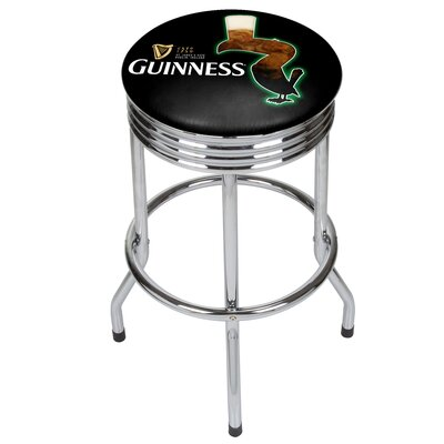 Guinness Feathering Ribbed 29 Swivel Bar Stool Finish: Chrome