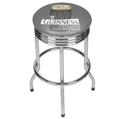 Guinness Line Art Pint Ribbed 29 Swivel Bar Stool Finish: Chrome