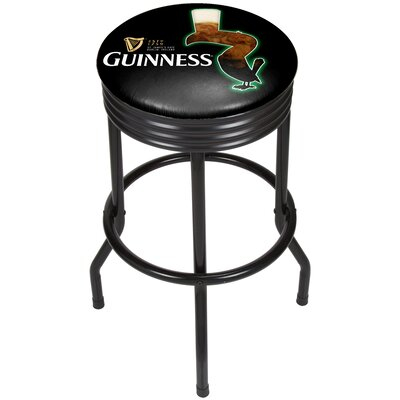 Guinness Feathering Ribbed 29 Swivel Bar Stool Finish: Black