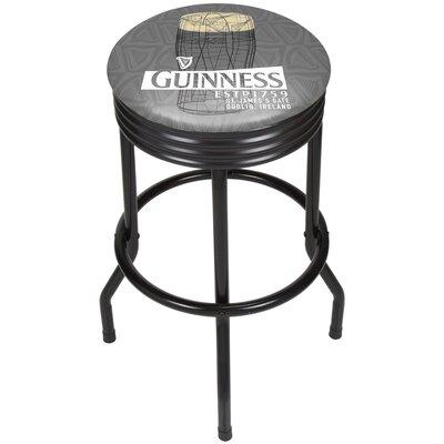 Guinness Line Art Pint Ribbed 29 Swivel Bar Stool Finish: Black
