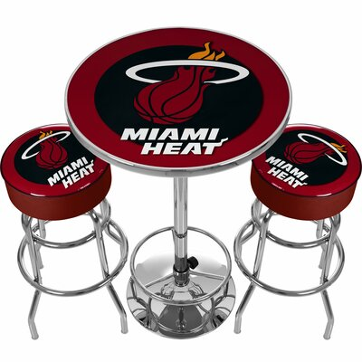 NBA Miami Heat Game Room Combo 3 Piece Pub Table Set NBA Team: Miami Heat