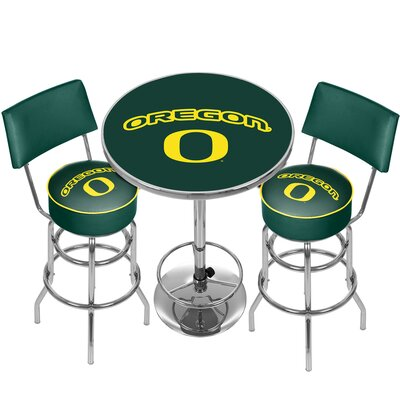 NCAA Game Room Combo 3 Piece Pub Table Set NCAA Team: University of Oregon