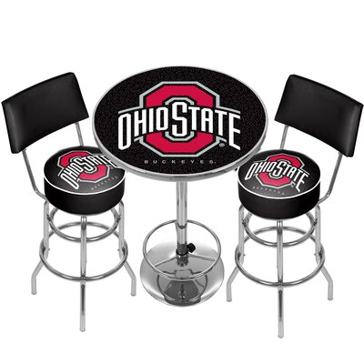 NCAA Game Room Combo 3 Piece Pub Table Set NCAA Team: Ohio State University