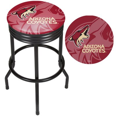 NHL Ribbed 28.5 Swivel Bar Stool NHL Team: New Jersey Devils, Finish: Chrome