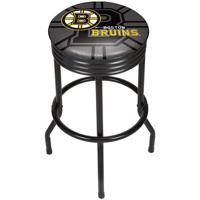 "NHL Ribbed 28.5"" Swivel Bar Stool Finish: Black, NHL Team: Boston Bruins NHL1006-BB"