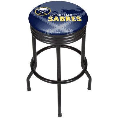 "NHL Ribbed 28.5"" Swivel Bar Stool Finish: Black, NHL Team: Buffalo Sabres NHL1006-BS"