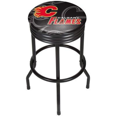 "NHL Ribbed 28.5"" Swivel Bar Stool Finish: Black, NHL Team: Calgary Flames NHL1006-CF"