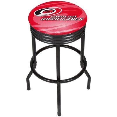 """NHL Ribbed 28.5"""" Swivel Bar Stool Finish: Black, NHL Team: Carolina Hurricanes NHL1006-CH"""