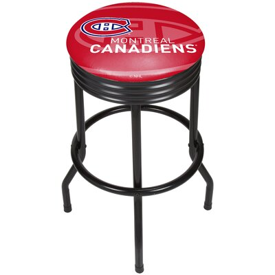 "NHL Ribbed 28.5"" Swivel Bar Stool Finish: Black, NHL Team: Montreal Canadiens NHL1006-MC"