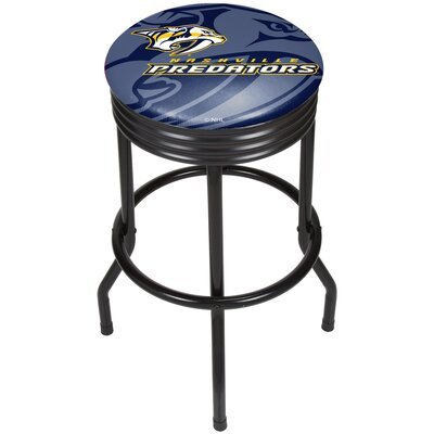 "NHL Ribbed 28.5"" Swivel Bar Stool Finish: Black, NHL Team: Nashville Predators NHL1006-NP"
