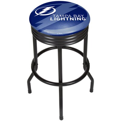 "NHL Ribbed 28.5"" Swivel Bar Stool Finish: Black, NHL Team: Tampa Bay Lightning NHL1006-TBL"