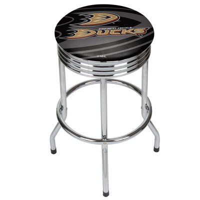 "NHL Ribbed 28.5"" Swivel Bar Stool NHL Team: Anaheim Ducks, Finish: Chrome NHL1005-AD"