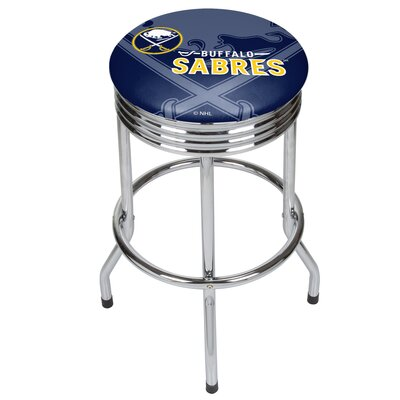 NHL Ribbed 28.5 Swivel Bar Stool NHL Team: Buffalo Sabres, Finish: Chrome