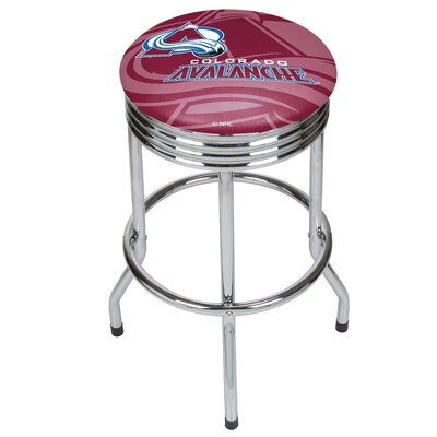 NHL Ribbed 28.5 Swivel Bar Stool NHL Team: Colorado Avalanche, Finish: Chrome