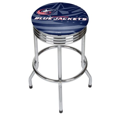 "NHL Ribbed 28.5"" Swivel Bar Stool Finish: Chrome, NHL Team: Columbus Blue Jackets NHL1005-CBJ"