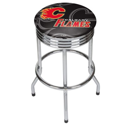 "NHL Ribbed 28.5"" Swivel Bar Stool Finish: Chrome, NHL Team: Calgary Flames NHL1005-CF"