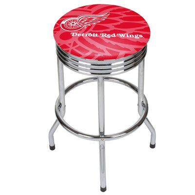 NHL Ribbed 28.5 Swivel Bar Stool NHL Team: Detroit Red Wings, Finish: Chrome