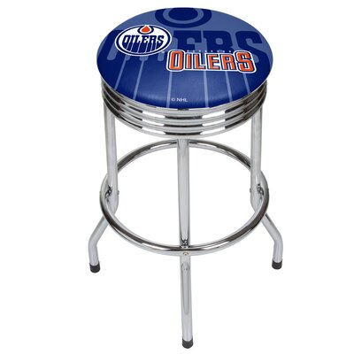NHL Ribbed 28.5 Swivel Bar Stool NHL Team: Edmonton Oilers, Finish: Chrome