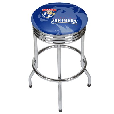 "NHL Ribbed 28.5"" Swivel Bar Stool NHL Team: Florida Panthers, Finish: Chrome NHL1005-FP"