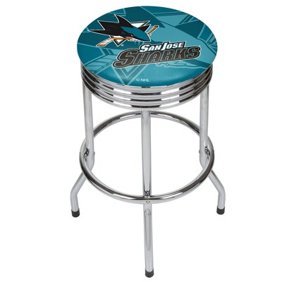 NHL Ribbed 28.5 Swivel Bar Stool NHL Team: San Jose Sharks, Finish: Chrome