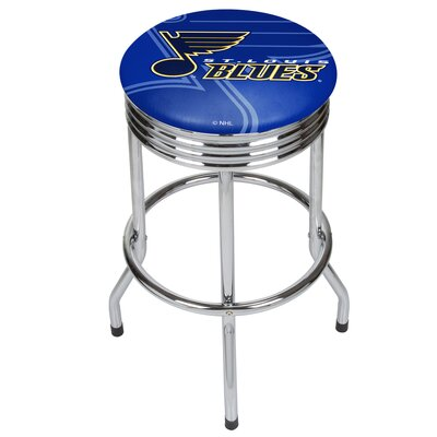 "NHL Ribbed 28.5"" Swivel Bar Stool Finish: Chrome, NHL Team: St. Louis Blues NHL1005-SLB"