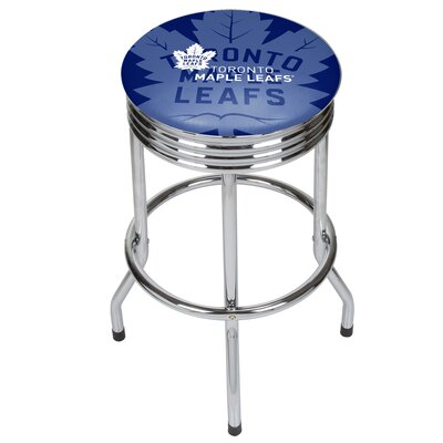 NHL Ribbed 28.5 Swivel Bar Stool NHL Team: Toronto Maple Leafs, Finish: Chrome
