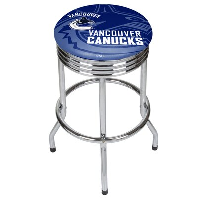 NHL Ribbed 28.5 Swivel Bar Stool NHL Team: Vancouver Canucks, Finish: Chrome
