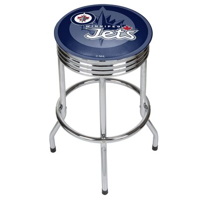 NHL Ribbed 28.5 Swivel Bar Stool NHL Team: Winnipeg Jets, Finish: Chrome