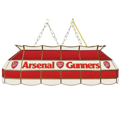 Premier League Stained Glass 3-Light Pool Table Light Premier League Team: Arsenal