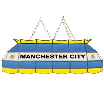Premier League Stained Glass 3-Light Pool Table Light Premier League Team: Manchester City