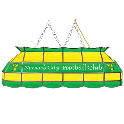 Premier League Stained Glass 3-Light Pool Table Light Premier League Team: Norwich City