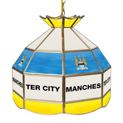 Premier League Stained Glass 1-Light Pool Table Light Premier League Team: Manchester City