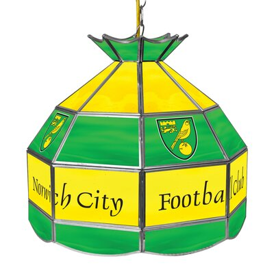Premier League Stained Glass 1-Light Pool Table Light Premier League Team: Norwich City