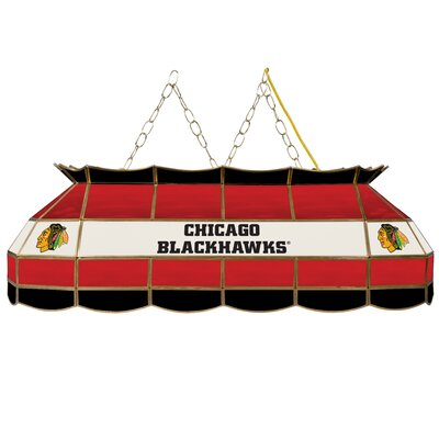 NHL Stained Glass 3-Light Pool Table Light NHL Team: Chicago Blackhawks
