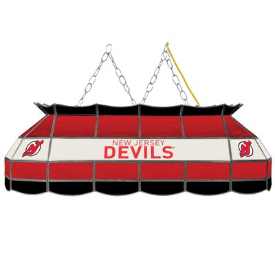 NHL Stained Glass 3-Light Pool Table Light NHL Team: New Jersey Devils