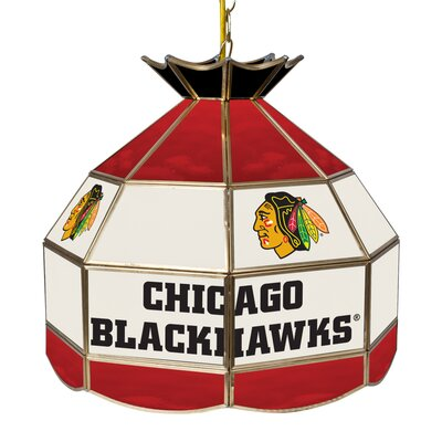 NHL Stained Glass 1-Light Bowl Pendant NHL Team: Chicago Blackhawks