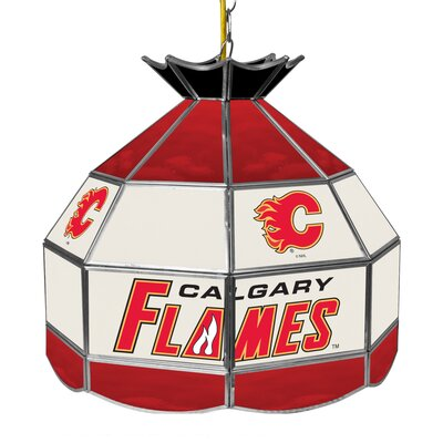 NHL Stained Glass 1-Light Bowl Pendant NHL Team: Calgary Flames