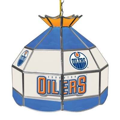 NHL Stained Glass 1-Light Bowl Pendant NHL Team: Edmonton Oilers