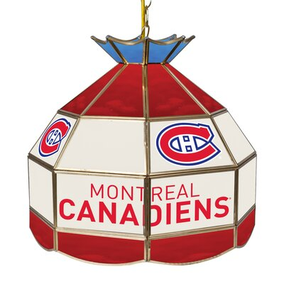 NHL Stained Glass 1-Light Bowl Pendant NHL Team: Montreal Canadiens