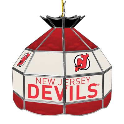 NHL Stained Glass 1-Light Bowl Pendant NHL Team: New Jersey Devils