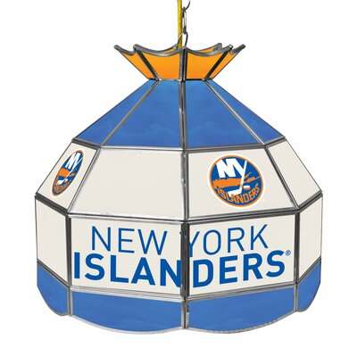 NHL Stained Glass 1-Light Bowl Pendant NHL Team: New York Islanders
