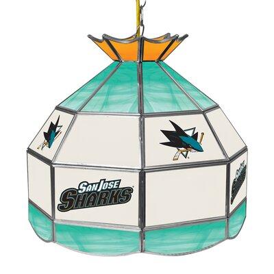 NHL Stained Glass 1-Light Bowl Pendant NHL Team: San Jose Sharks