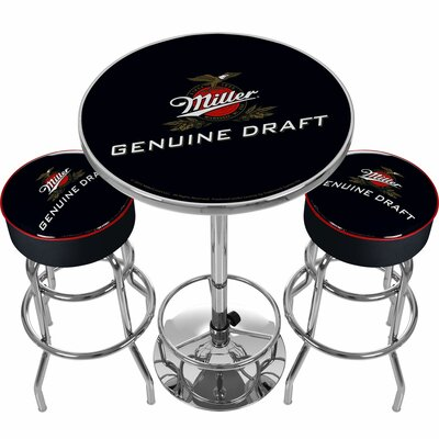 Ultimate Miller Genuine Draft 3 Piece Pub Table Set
