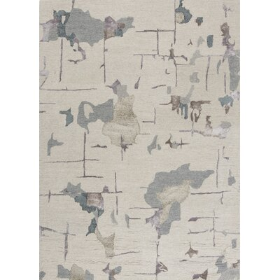 Barbro Hand-Tufted Beige/Light Blue Area Rug Rug Size: 83 x 116
