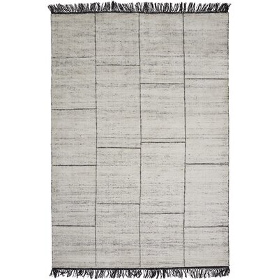 Bourquin Hand-Knotted White Area Rug Rug Size: 57 x 79